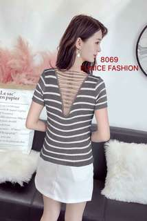 KNITTED STRIPE BLOUSE BACK CRISSCROSS 8069#