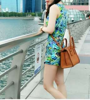 Green abstract romper