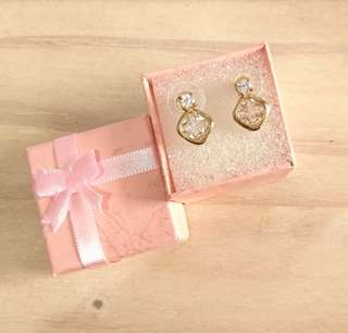 Gold Tone Dainty Earrings with Box
