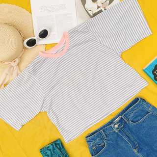REPRICED: Oversized Gray Stripes Top