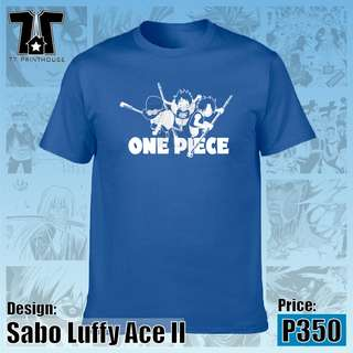 Sabo Luffy Ace II T-Shirt | One Piece Anime | Blue Red