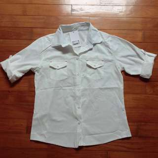 BNWT White shirt with red accents