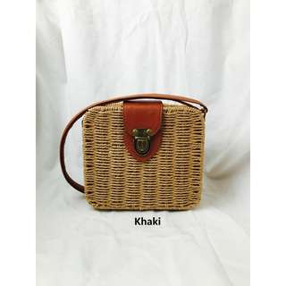 Square Straw Rattan Bag