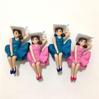 現貨微瑕出清 夏休一代、二代 粉裙 藍裙 飄飄裙 杯緣子 扭蛋 盒玩