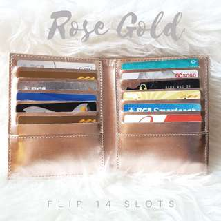 Cardholder premium rose gold flip 14 slots/dompet kartu murah