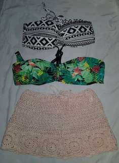 Bikini top & crochet cover up set