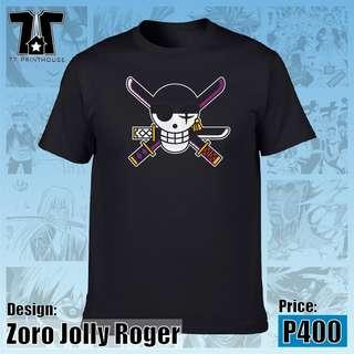 Zoro Jolly Roger T-Shirt   One Piece Anime   Black White