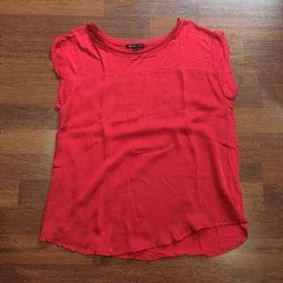 Mango Suit Plain Red Blouse