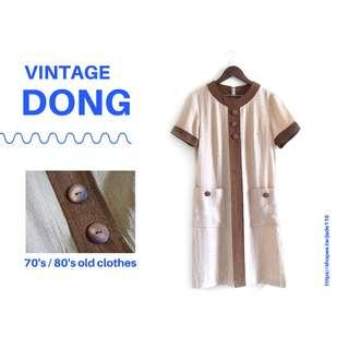 🚚 | 咚 咚 Vintage |日本古著-格雷伯爵鮮奶茶短袖洋裝