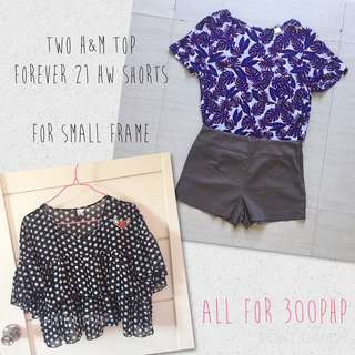 BUNDLE: TWO H&M Top and Forever 21 Bottom