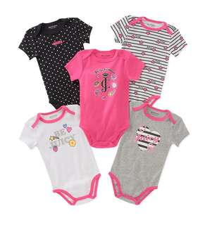 *6M & 9M* Brand New Juicy Couture 5-Pack Short Sleeve Bodysuits For Baby Girl