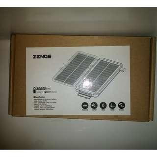 Zenos 30000mAh Power Bank 4W Solar Power Double Panel with LED Panel