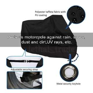 Waterproof Canvas Cover for Motorcycle Motorbike Black