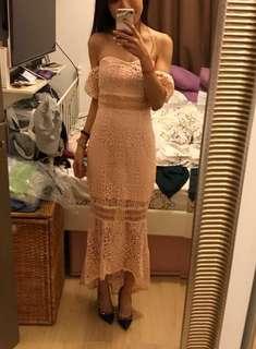 New lace pink maxi mermaid dress evening grown 小性感魚尾裙