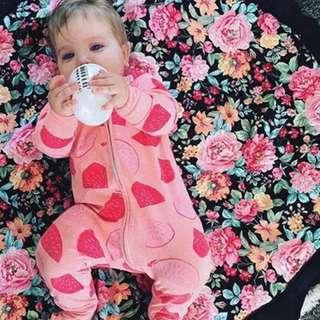 🚚 ✔️STOCK - PINK PEACH WATERMELON FRUIT NEWBORN BABY ZIPPER PJ JUMPER TODDLER GIRL ROMPER PANTS SLEEPING COMFY PAJAMA ONESIE KIDS CHILDREN CLOTHING