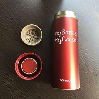 [全新] LOCK&LOCK 樂扣樂扣酒紅色泡茶保溫瓶330ml