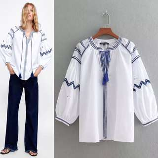 Loose fitting summer embroidery fringed long sleeve casual white shirt