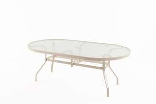 Sandestin oval glass table with hole comes with a set of 4 chairs