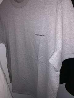 Balenciaga Grey Small Logo T-Shirt - Large