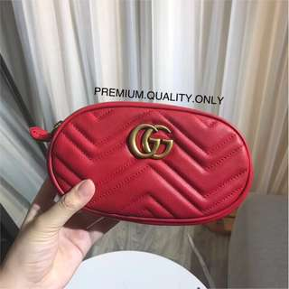 Gucci Marmont Belt  Bag - hibiscus red