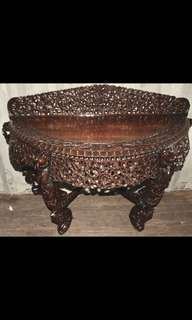 Antique Heavily Carved Display Table