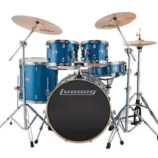 Ludwig Drum set Accent Series 5 Piece LC1759 set W/ Symbals Zildjian PLZ4PK Planet Z 4 Pack