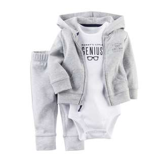 🚚 ✔️STOCK -3pc GREY MOMMY'S LITTLE GENIUS ROMPER & LEGGING PANTS WITH JACKET SET NEWBORN BABY TODDLER BOY KIDS CHILDREN CLOTHING