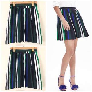Shirred Striped Skirt