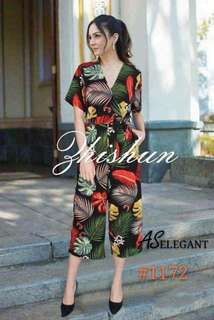 PRINTED JUMPSUIT WITH SLEEVE 1172#