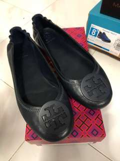 Tory Burch navy blue ballet平底鞋
