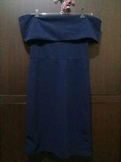 WALANG WHEN WORN Off Shoulder Midnight Blue Dress