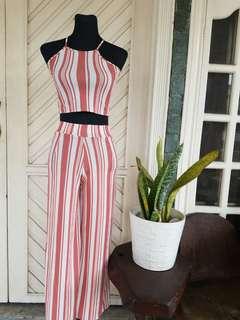 Pink & White Stripes Terno