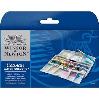 Winsor & Newton - Cotman Watercolours Pocket Plus Set - 12 Half Pans