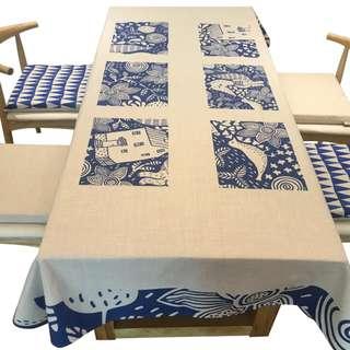 Unique Cartoon Countryside View Tablecloth, 獨特農村畫作設計枱布
