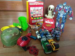 A Big Lot of Interesting Toys (spider man, macquin, jack box...)