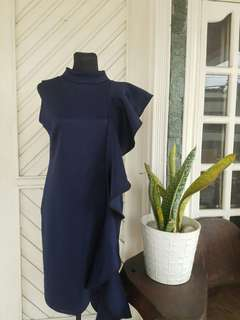 One side Ruffled Dress in Navy Blue