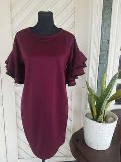Ruffled Dress in Maroon