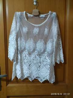 韓國 White Lace Top