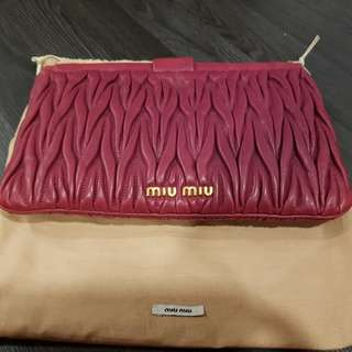 Miu Miu Matelasse leather clutch