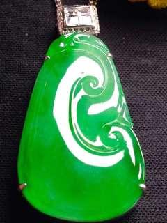 GZ-36批發價[色]: ¥77600 【如意,冰正陽綠】 色正料純,色澤鮮豔,通透,冰透細膩,完美無瑕,18K金奢華鑽石鑲嵌