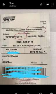 ETS train ticket from KL central to Bukit Mertajam