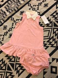 🚚 全新RL雕花領口粉色洋裝24M