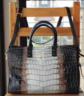 Authentic Salad Croc-Texture Tricolor Two-way Tote/Sling