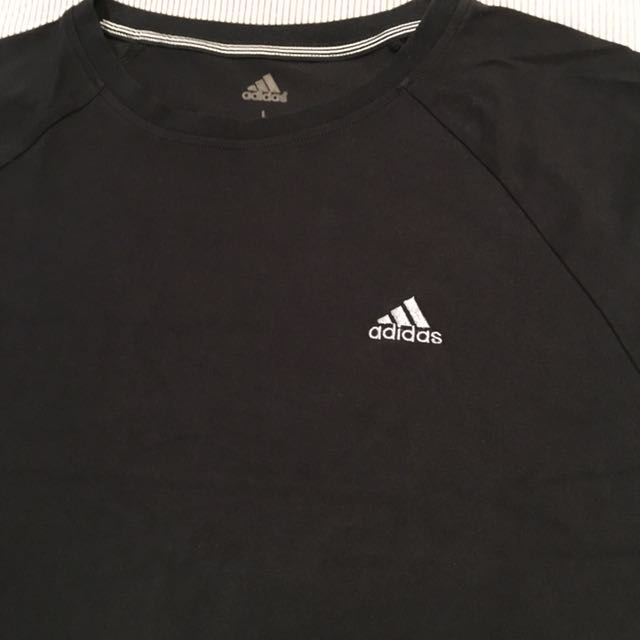 Adidas Climalite Cotton T Shirt Black Large, Men's Fashion