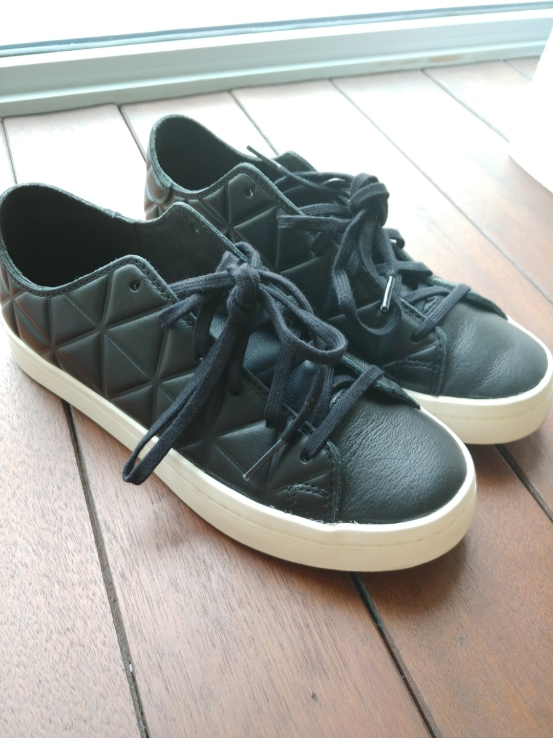 finest selection 65fca 4ef51 Adidas Court Vantage Polygon in black, Womens Fashion, Shoes, Sneakers on  Carousell