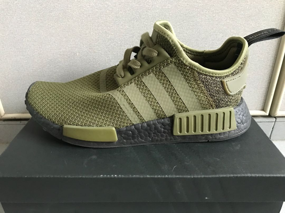 243929945 Athletic Shoes Men s Shoes Adidas Originals NMD R1 AQ1246 Olive Green Black  EU Exclusive Sneakers