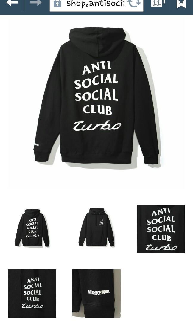 3ddb869a5 Anti Social Social Club X Neighborhood Black hoodie, Men's Fashion ...