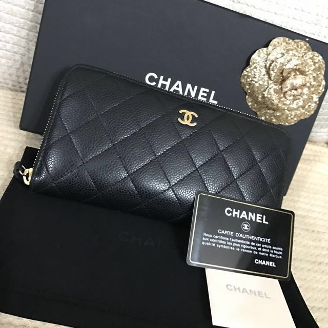 6ea75c26330117 Authentic Chanel Black Caviar Quilted Leather Zip Around Wallet