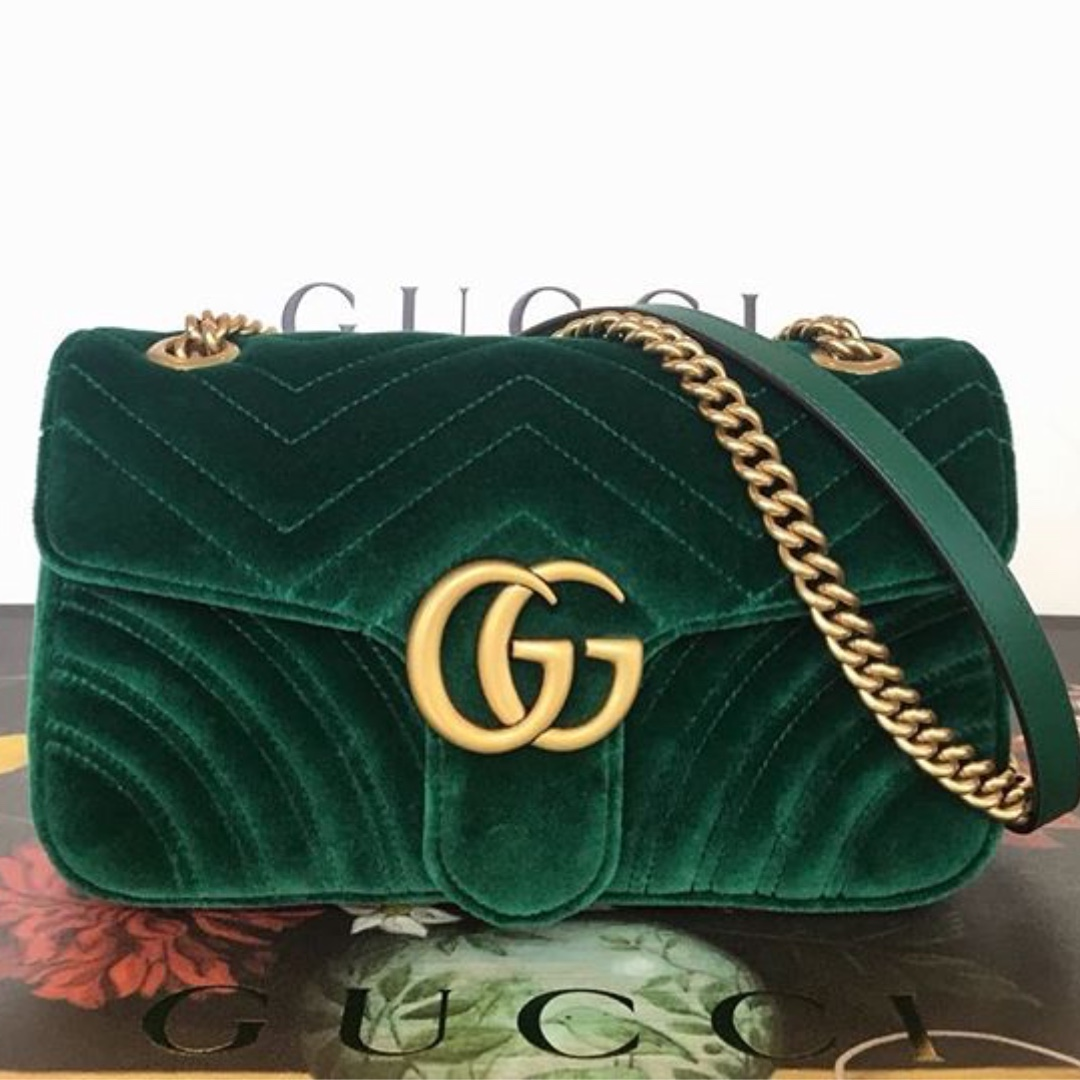 297869ab82fb Authentic Gucci Marmont velvet emerald small, Luxury, Bags & Wallets ...