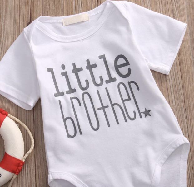e89715d8c Baby Romper Onesies T Shirt V Neck Big Brother Little Baby Brother White  Grey Matching Set Newborn Children Kids Infant [PO], Bulletin Board,  Preorders on ...